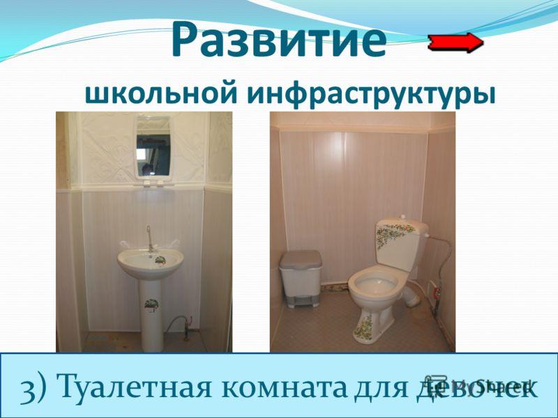 Развитие школьной инфраструктуры 3) Туалетная комната для девочек