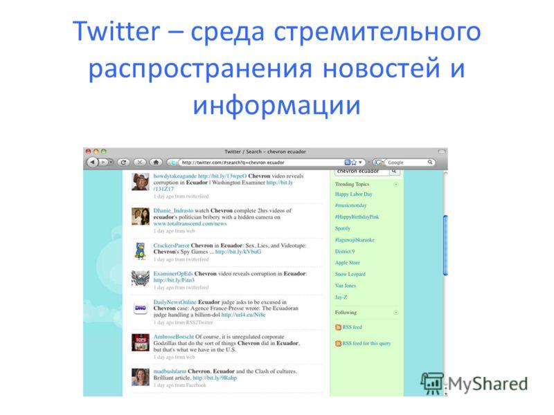 Twitter – среда стремительного распространения новостей и информации
