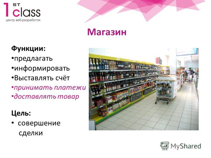 Магазин Цель: совершение сделки Функции: предлагать информировать Выставлять счёт принимать платежи доставлять товар