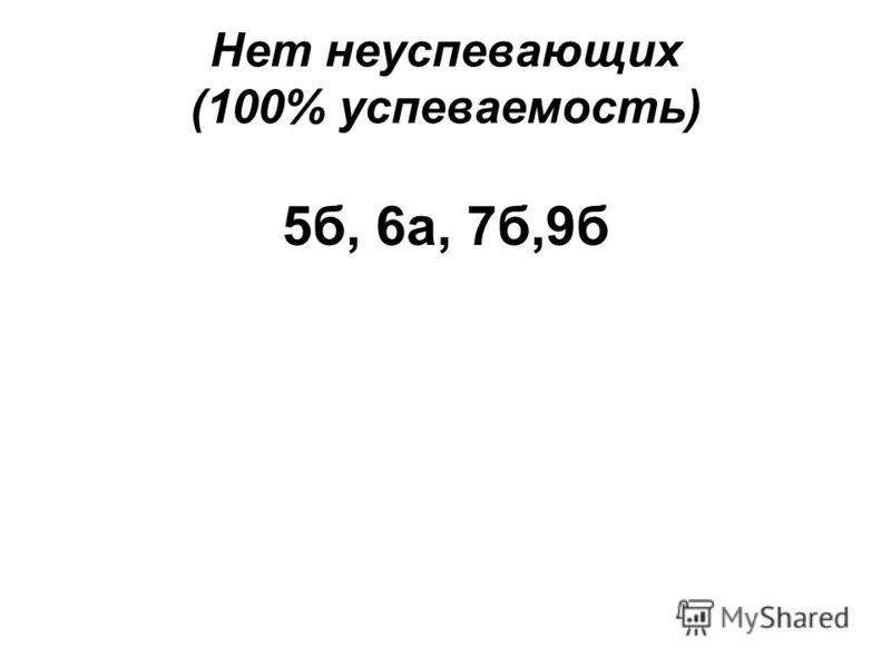 Нет неуспевающих (100% успеваемость) 5б, 6а, 7б,9б