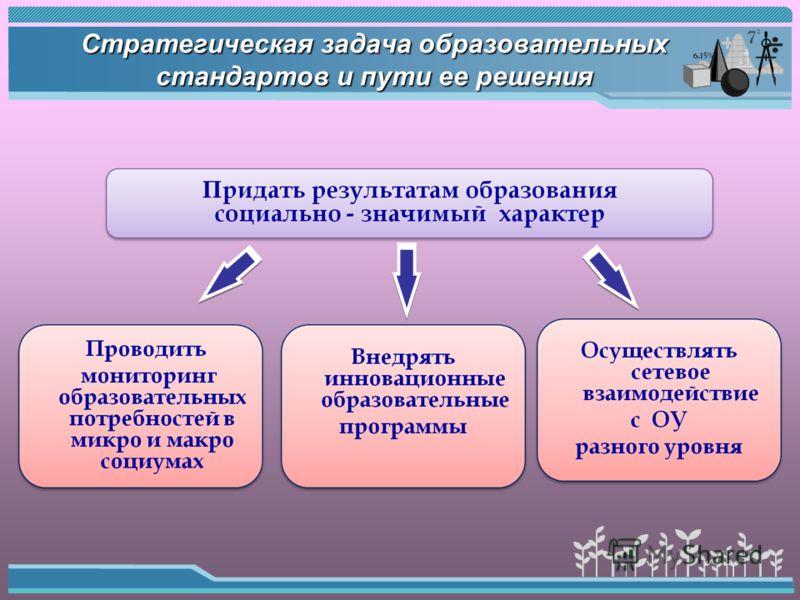 Стратегическая задача образовательных стандартов и пути ее решения