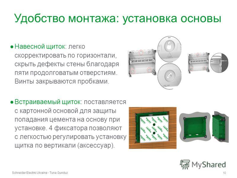 Schneider Electric Ukraine - Tuna Gunduz 10 - Навесной щиток: легко скорректировать по горизонтали, скрыть дефекты стены благодаря пяти продолговатым отверстиям. Винты закрываются пробками. Встраиваемый щиток: поставляется с картонной основой для защ