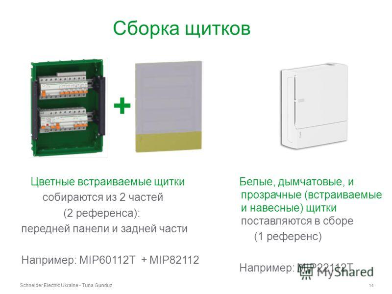Schneider Electric Ukraine - Tuna Gunduz 14 - Сборка щитков Цветные встраиваемые щитки собираются из 2 частей (2 референса): передней панели и задней части Например: MIP60112T + MIP82112 + Белые, дымчатовые, и прозрачные (встраиваемые и навесные) щит