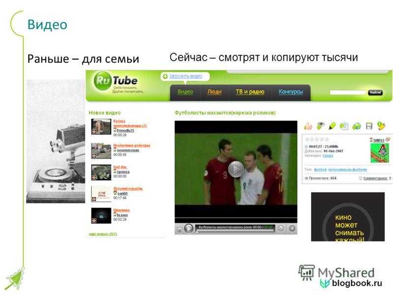 blogbook.ru Видео Раньше – для семьи Сейчас – смотрят и копируют тысячи