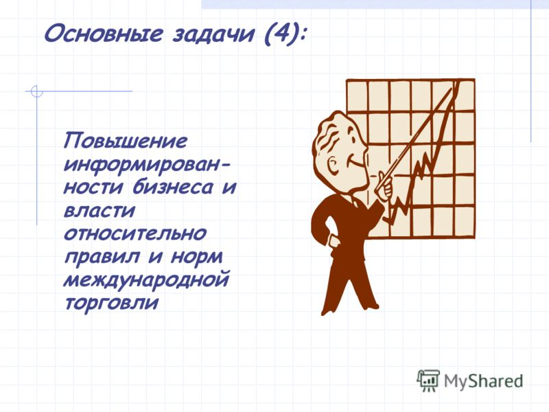 Основные задачи (4): Повышение информирован- ности бизнеса и власти относительно правил и норм международной торговли