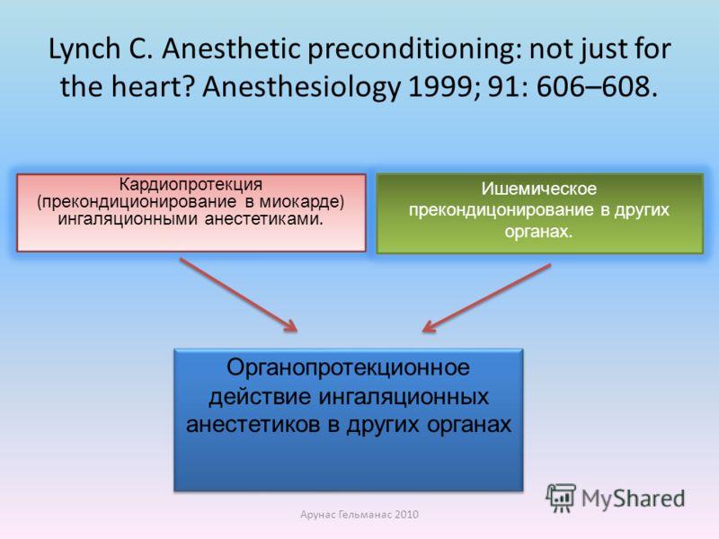 Lynch C. Anesthetic preconditioning: not just for the heart? Anesthesiology 1999; 91: 606–608. Кардиопротекция ( прекондиционирование в миокарде ) ингаляционными анестетиками. Ишемическое прекондицонирование в других органах. Органопротекционное дейс