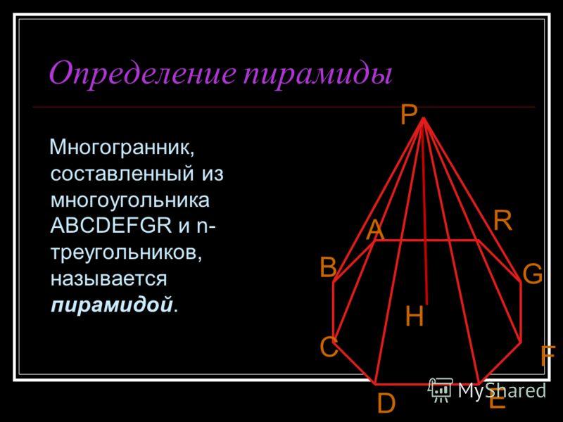 Определение пирамиды Многогранник, составленный из многоугольника ABCDEFGR и n- треугольников, называется пирамидой. Р А В С D E F G R H