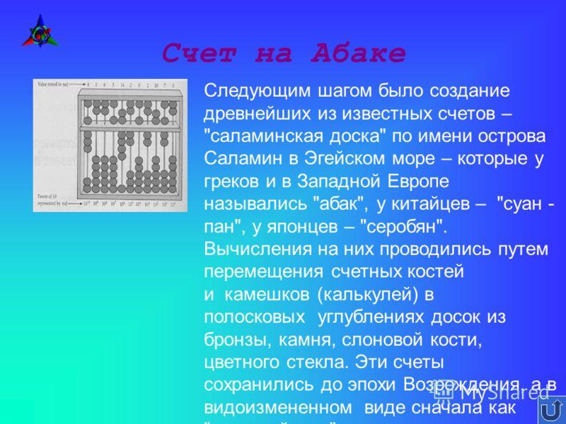 Счет на Абаке Следующим шагом было создание древнейших из известных счетов –