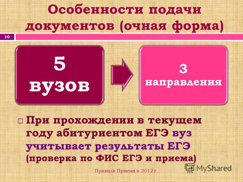 Особенности подачи документов (очная форма) 10 Правила Приема в 2012 г. 5 вузов 3 направления При прохождении в текущем году абитуриентом ЕГЭ вуз учитывает результаты ЕГЭ (проверка по ФИС ЕГЭ и приема)