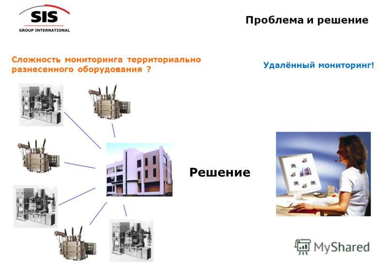 Проблема и решение Удалённый мониторинг! Сложность мониторинга территориально разнесенного оборудования ? Решение