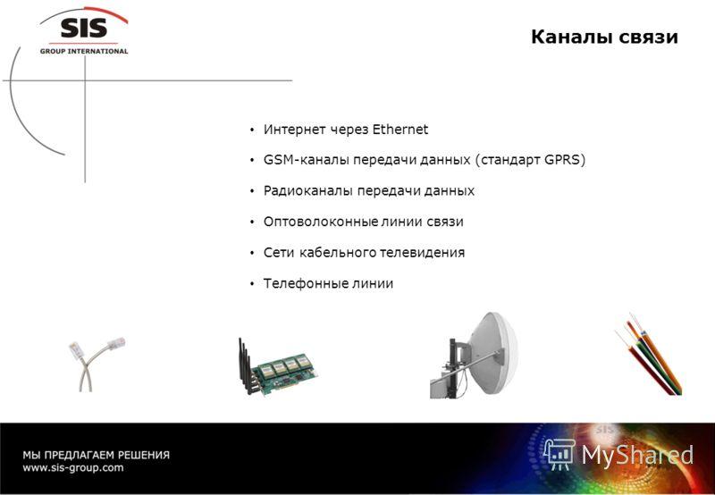 Каналы связи Интернет через Ethernet GSM-каналы передачи данных (стандарт GPRS) Радиоканалы передачи данных Оптоволоконные линии связи Сети кабельного телевидения Телефонные линии
