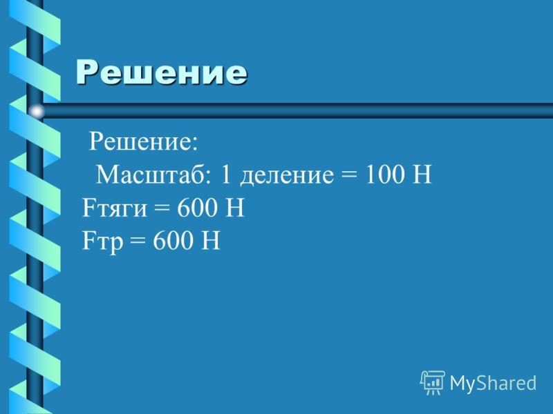 Решение Решение: Масштаб: 1 деление = 100 H Fтяги = 600 H Fтр = 600 H