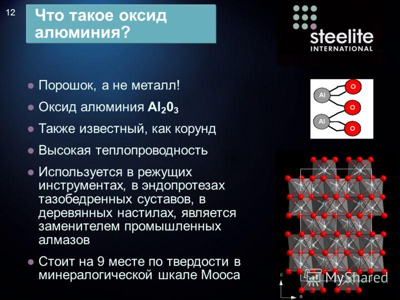 12 Порошок, а не металл! Оксид алюминия Al 2 0 3 Также известный, как корунд Высокая теплопроводность Используется в режущих инструментах, в эндопротезах тазобедренных суставов, в деревянных настилах, является заменителем промышленных алмазов Стоит н