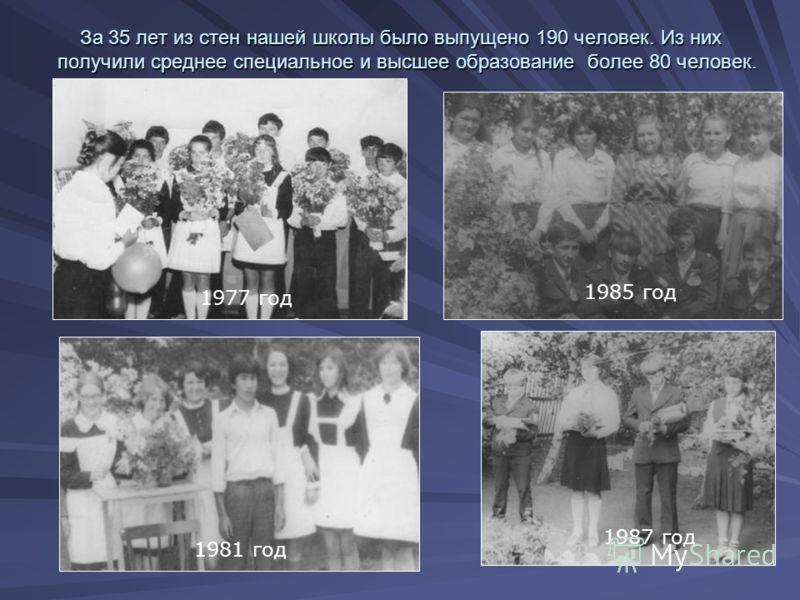 За 35 лет из стен нашей школы было выпущено 190 человек. Из них получили среднее специальное и высшее образование более 80 человек. За 35 лет из стен нашей школы было выпущено 190 человек. Из них получили среднее специальное и высшее образование боле