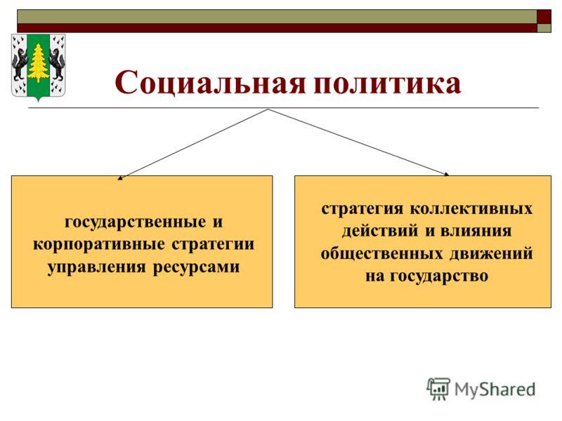 Социальная политика государственные и корпоративные стратегии управления ресурсами стратегия коллективных действий и влияния общественных движений на государство