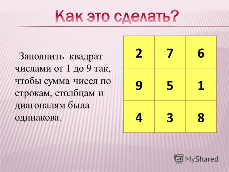 Заполнить квадрат числами от 1 до 9 так, чтобы сумма чисел по строкам, столбцам и диагоналям была одинакова. 276 951 438