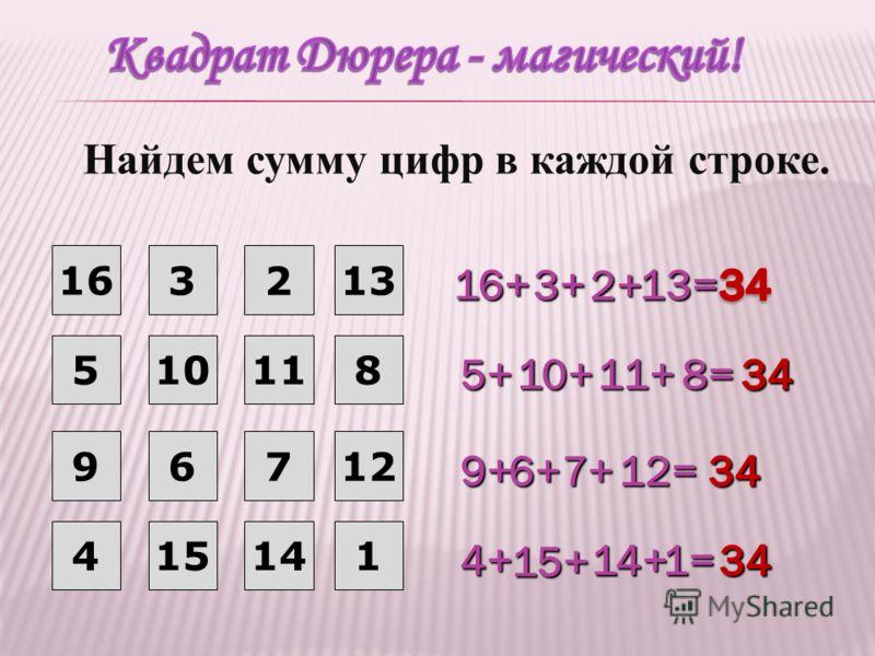 16 32 51011 967 16+ 3+ 3+ 5+ 10+ 10+ 11+ 11+ 8= 8= 12= 9+ 6+7+ 41514 13 8 12 1 13= 13= 4+ 15+ 14+ 14+ 1= 1= 2+ Найдем сумму цифр в каждой строке.