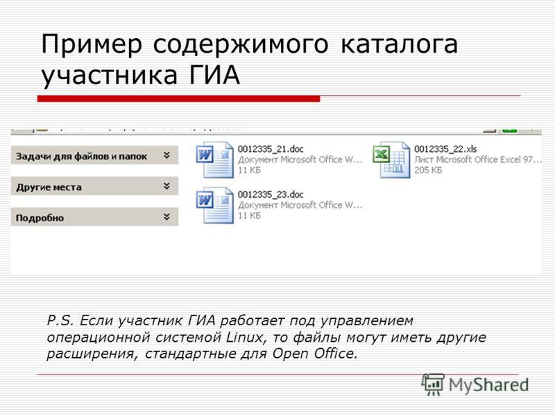 Пример содержимого каталога участника ГИА P.S. Если участник ГИА работает под управлением операционной системой Linux, то файлы могут иметь другие расширения, стандартные для Open Office.