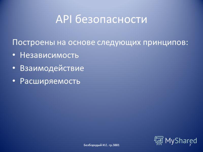 API безопасности Построены на основе следующих принципов: Независимость Взаимодействие Расширяемость Безбородый И.Е. гр.38817