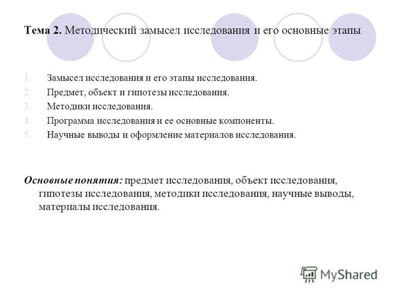 Тема 2. Методический замысел исследования и его основные этапы 1.Замысел исследования и его этапы исследования. 2.Предмет, объект и гипотезы исследования. 3.Методики исследования. 4.Программа исследования и ее основные компоненты. 5.Научные выводы и