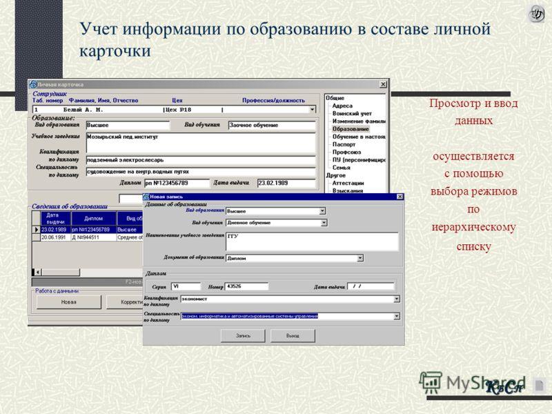 Учет информации по образованию в составе личной карточки Просмотр и ввод данных осуществляется с помощью выбора режимов по иерархическому списку КБСПКБСПКБСПКБСП