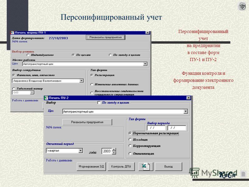 Персонифицированный учет на предприятии в составе форм ПУ-1 и ПУ-2 Функции контроля и формирование электронного документа Персонифицированный учет КБСПКБСПКБСПКБСП