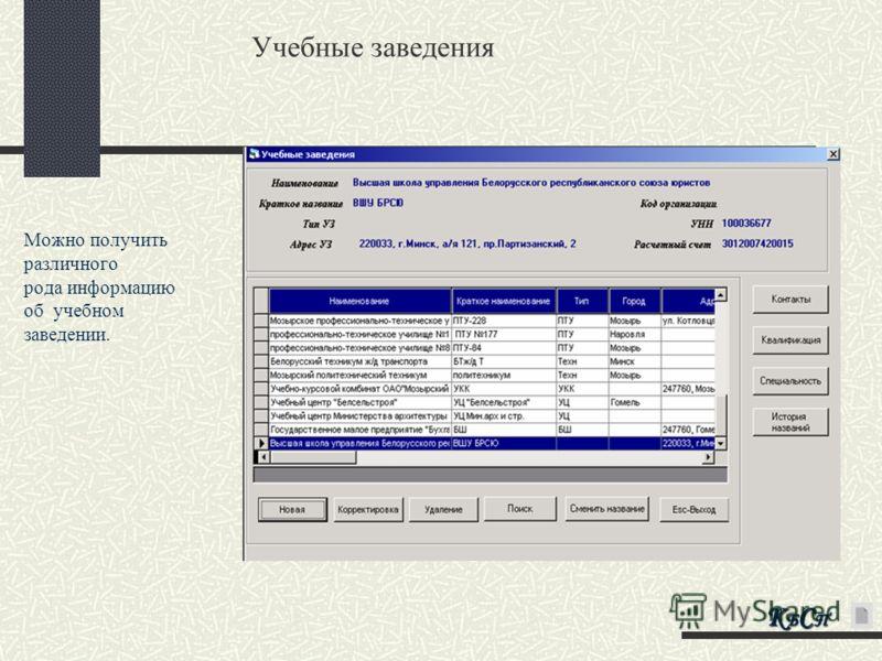 Учебные заведения Можно получить различного рода информацию об учебном заведении. КБСПКБСПКБСПКБСП