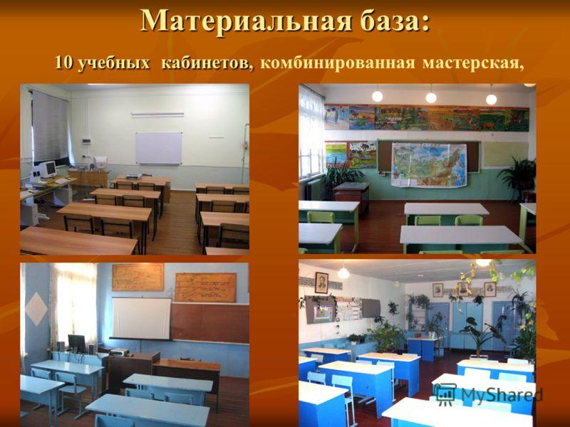 Материальная база: 10 учебных кабинетов, Материальная база: 10 учебных кабинетов, комбинированная мастерская,