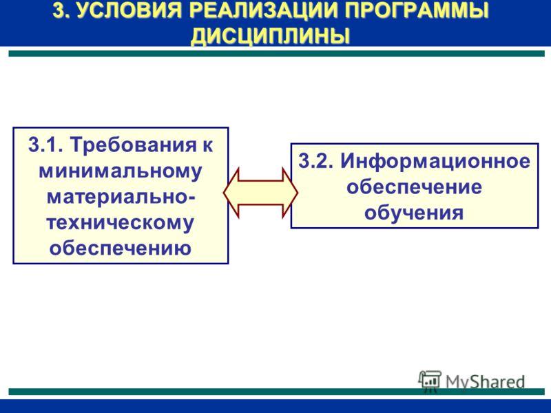 3. УСЛОВИЯ РЕАЛИЗАЦИИ ПРОГРАММЫ ДИСЦИПЛИНЫ 3.1. Требования к минимальному материально- техническому обеспечению 3.2. Информационное обеспечение обучения