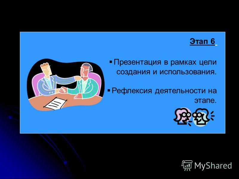 Этап 6 Презентация в рамках цели создания и использования. Рефлексия деятельности на этапе.