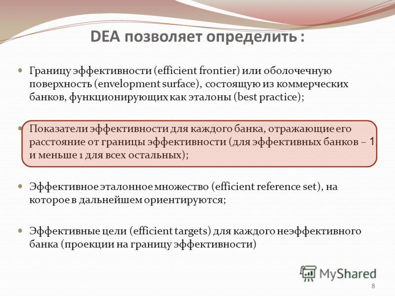 DEA позволяет определить : Границу эффективности (efficient frontier) или оболочечную поверхность (envelopment surface), состоящую из коммерческих банков, функционирующих как эталоны (best practice); Показатели эффективности для каждого банка, отража