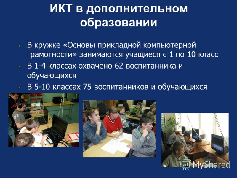 ИКТ в дополнительном образовании В кружке «Основы прикладной компьютерной грамотности» занимаются учащиеся с 1 по 10 класс В 1-4 классах охвачено 62 воспитанника и обучающихся В 5-10 классах 75 воспитанников и обучающихся