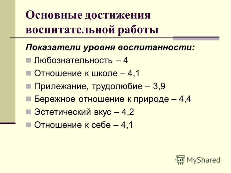 Показатели уровня воспитанности: Любознательность – 4 Отношение к школе – 4,1 Прилежание, трудолюбие – 3,9 Бережное отношение к природе – 4,4 Эстетический вкус – 4,2 Отношение к себе – 4,1