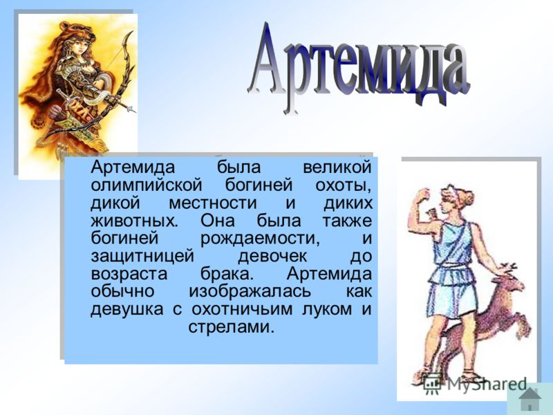 12 Артемида была великой олимпийской богиней охоты, дикой местности и диких животных. Она была также богиней рождаемости, и защитницей девочек до возраста брака. Артемида обычно изображалась как девушка с охотничьим луком и стрелами.