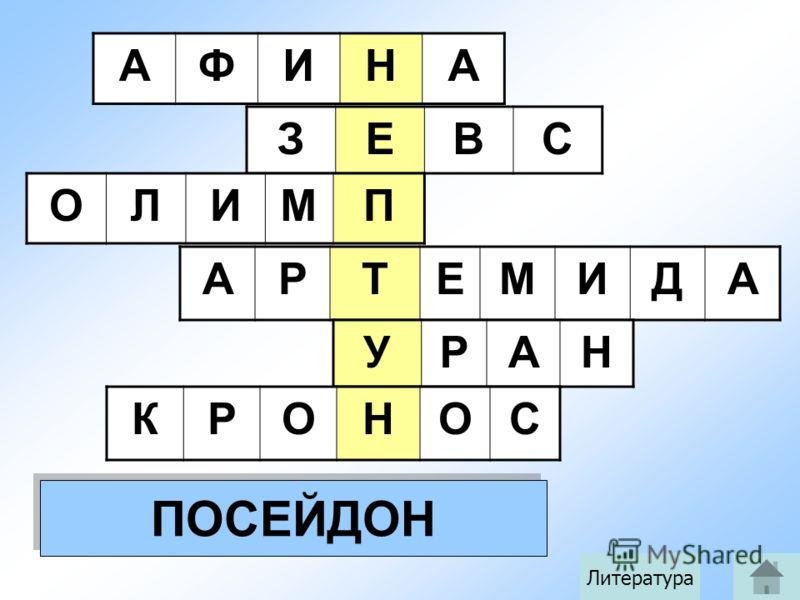 АФИНА ЗЕВС ОЛИМП АРТЕМИДА УРАН КРОНОС ПОСЕЙДОН Литература