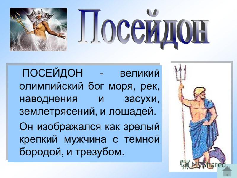 7 ПОСЕЙДОН - великий олимпийский бог моря, рек, наводнения и засухи, землетрясений, и лошадей. Он изображался как зрелый крепкий мужчина с темной бородой, и трезубом. ПОСЕЙДОН - великий олимпийский бог моря, рек, наводнения и засухи, землетрясений, и