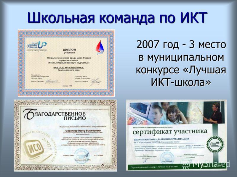 Школьная команда по ИКТ 2007 год - 3 место в муниципальном конкурсе «Лучшая ИКТ-школа»