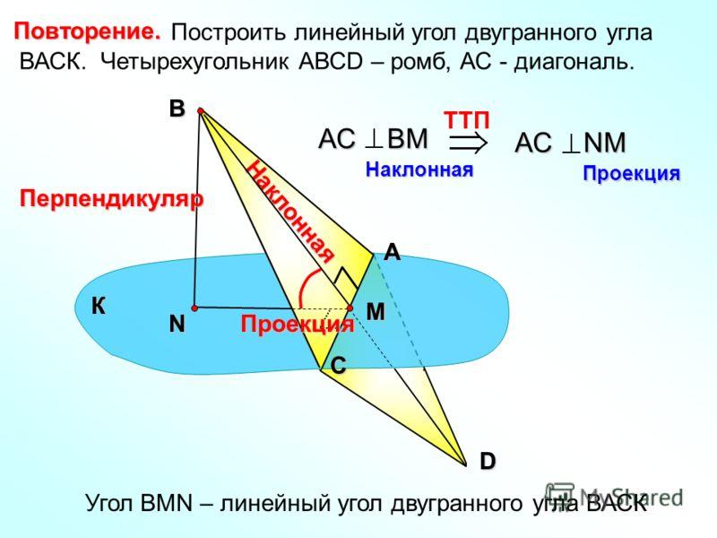 Найдите расстояние от вершины куба до плоскости любой грани, в которой не лежит эта вершина, если: а) диагональ грани куба равна m. б) диагональ куба равна d. 189. 189. D А В С D1D1 С1С1 m Н А Расстояние от точки до плоскости – длина перпендикуляра П
