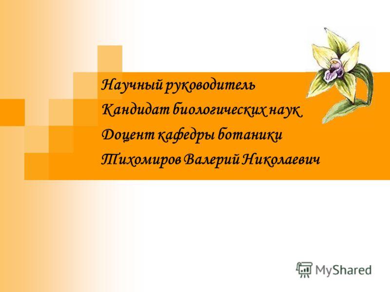 Научный руководитель Кандидат биологических наук Доцент кафедры ботаники Тихомиров Валерий Николаевич