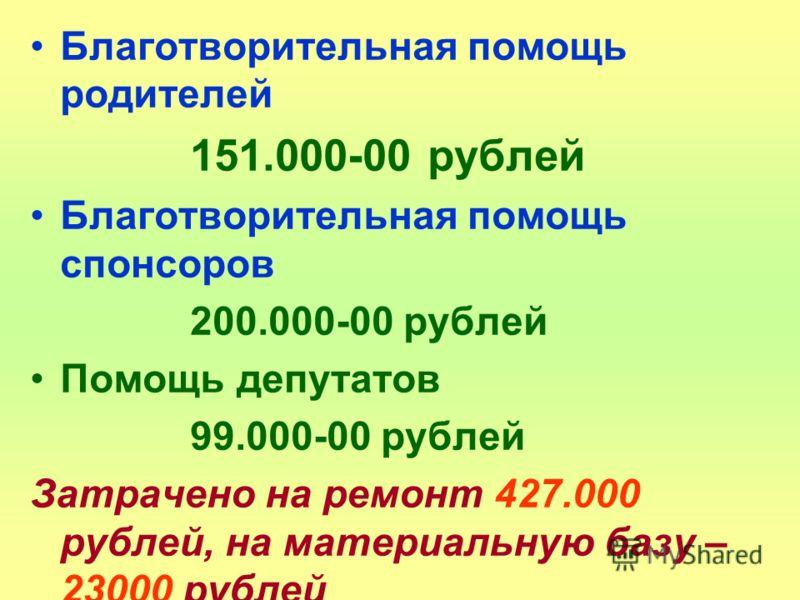 Благотворительная помощь родителей 151.000-00 рублей Благотворительная помощь спонсоров 200.000-00 рублей Помощь депутатов 99.000-00 рублей Затрачено на ремонт 427.000 рублей, на материальную базу – 23000 рублей