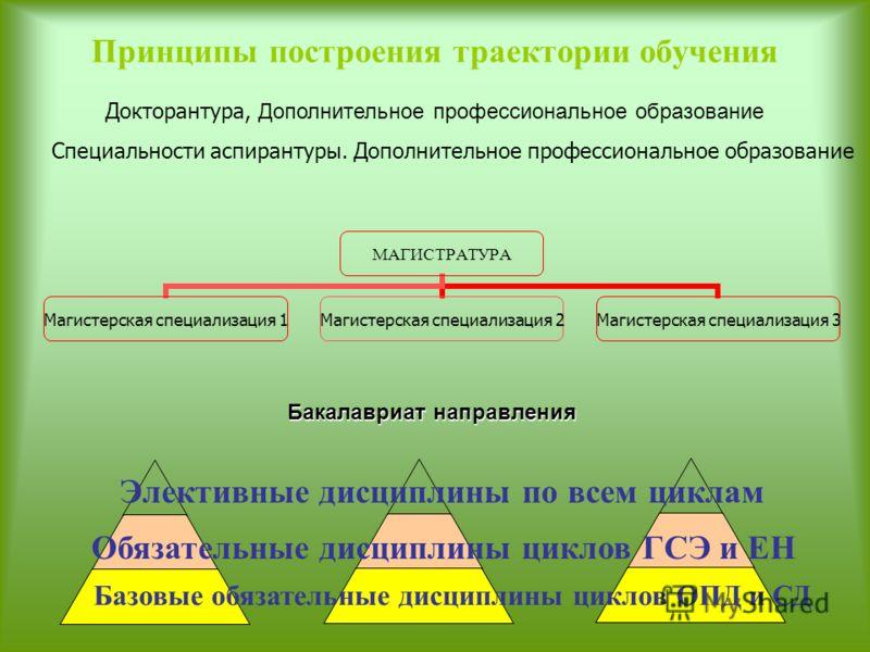 Принципы построения траектории обучения МАГИСТРАТУРА Магистерская специализация 1 Магистерская специализация 2 Магистерская специализация 3 Базовые обязательные дисциплины циклов ОПД и СД Обязательные дисциплины циклов ГСЭ и ЕН Элективные дисциплины