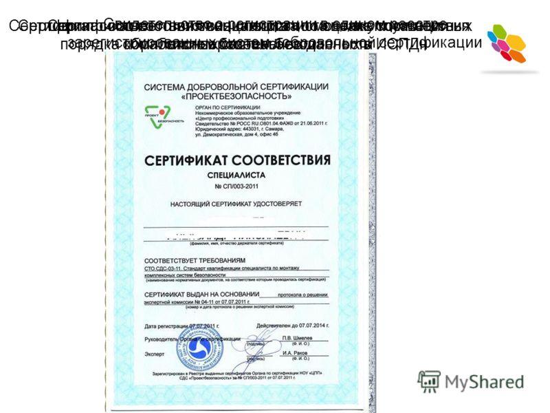 Свидетельство о регистрации в едином реестре зарегистрированных систем добровольной сертификации Сертификат соответствия специалиста по монтажу комплексных систем безопасности Сертификат соответствия специалиста по эксплуатации комплексных систем без