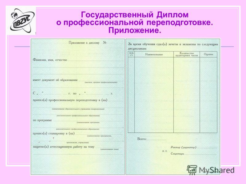 Государственный Диплом о профессиональной переподготовке. Приложение.