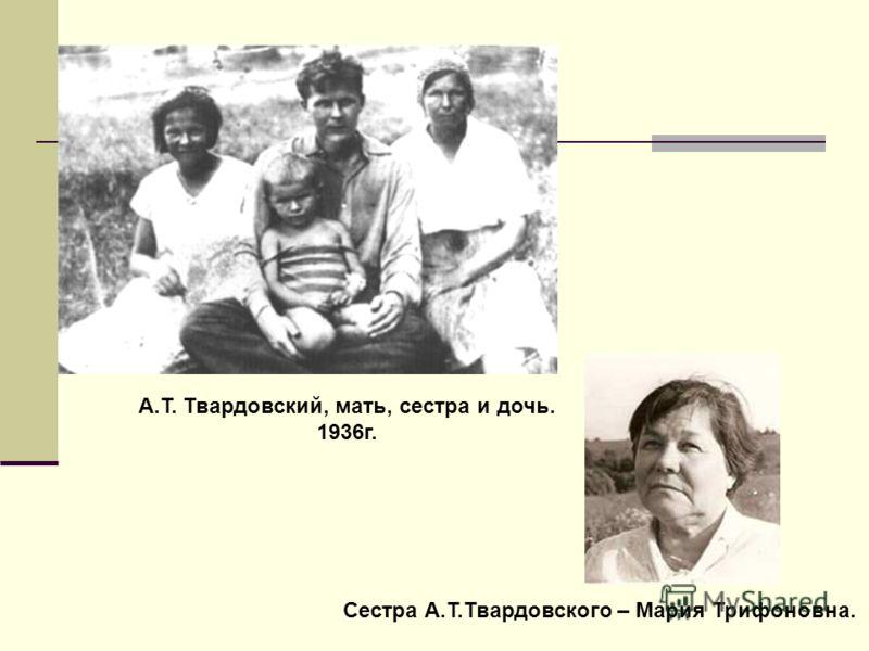 Сестра А.Т.Твардовского – Мария Трифоновна. А.Т. Твардовский, мать, сестра и дочь. 1936г.