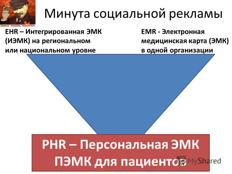 Минута социальной рекламы EMR - Электронная медицинская карта (ЭMК) в одной организации EHR – Интегрированная ЭМК (ИЭМК) на региональном или национальном уровне PHR – Персональная ЭМК ПЭМК для пациентов