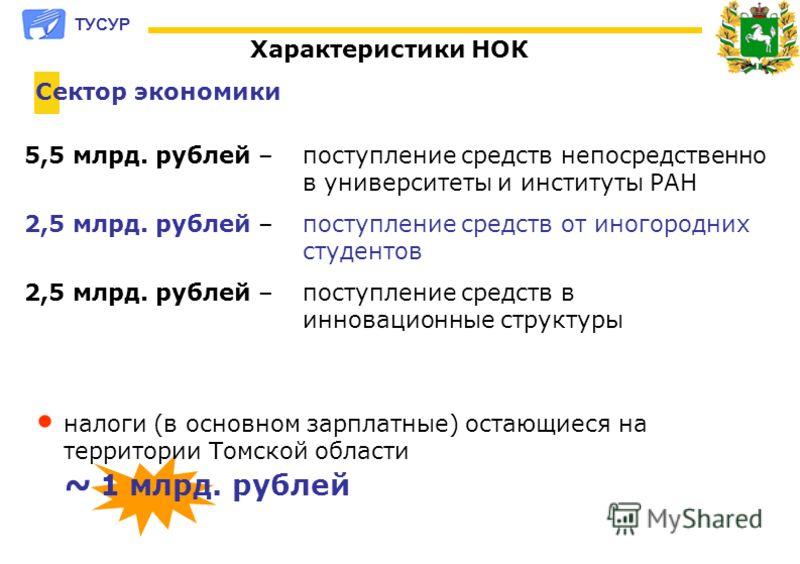 5,5 млрд. рублей – поступление средств непосредственно в университеты и институты РАН 2,5 млрд. рублей – поступление средств от иногородних студентов 2,5 млрд. рублей – поступление средств в инновационные структуры налоги (в основном зарплатные) оста