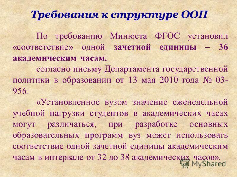 Требования к структуре ООП По требованию Минюста ФГОС установил «соответствие» одной зачетной единицы – 36 академическим часам. согласно письму Департамента государственной политики в образовании от 13 мая 2010 года 03- 956: «Установленное вузом знач
