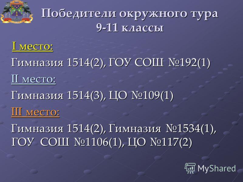 Победители окружного тура 9-11 классы I место: I место: Гимназия 1514(2), ГОУ СОШ 192(1) Гимназия 1514(2), ГОУ СОШ 192(1) II место: II место: Гимназия 1514(3), ЦО 109(1) Гимназия 1514(3), ЦО 109(1) III место: III место: Гимназия 1514(2), Гимназия 153