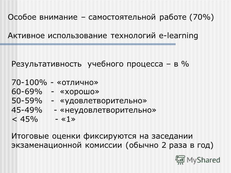 Особое внимание – самостоятельной работе (70%) Активное использование технологий e-learning Результативность учебного процесса – в % 70-100% - «отлично» 60-69% - «хорошо» 50-59% - «удовлетворительно» 45-49% - «неудовлетворительно» < 45% - «1» Итоговы