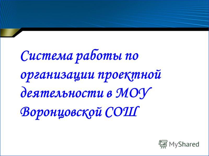 Система работы по организации проектной деятельности в МОУ Воронцовской СОШ